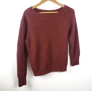 MINKPINK | Burgundy Off Shoulder Scoop Sweater M